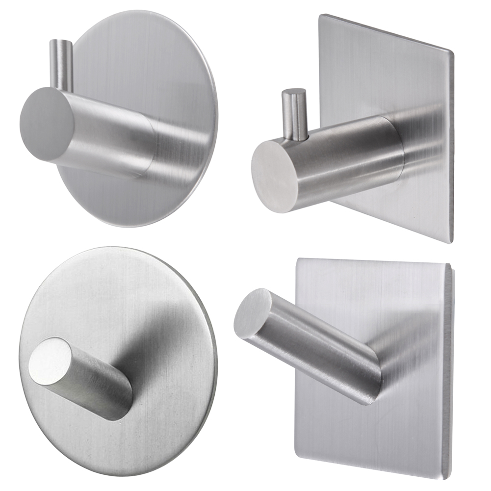 Bathroom Wall Hanger Stainless Steel Stick on Adhesive Robe Towel Family Robe Hooks Bathroom Accessories Max 5KG 4styles