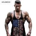 Aolamegs Homens Regatas Musculação Undershirt Aptidão Muscular Longarina Colete Sem Mangas bandeira Americana Imprimir Academias Sportswear dos homens