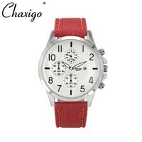 Chaxigo Colorful Waterproof Leather Band Cheap Montre Quartz Watch Wristwatch Men Male Casual Clock Military Watch