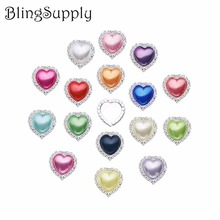 Free shipping 20mm 50pcs heart shape pearl rhinestone button with flat back (BTN-5031)(China)