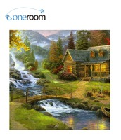 3th 50x50 Needlework DIY Cross Stitch For Embroidery Kits Beautiful Country Spring Water Art Cross Stitching