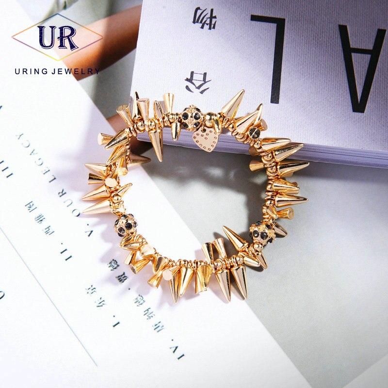 Bracelets Rivet punk pour les femmes Or-couleur stretch personnalité de mode bijoux 2018 Cadeau pour le Jour De Noël KA350