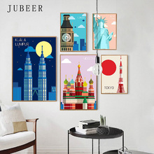 Nordic Minimalist Landscape Canvas Painting London New York Mexicocity Poster Frameless Decorative Painting for Living Room