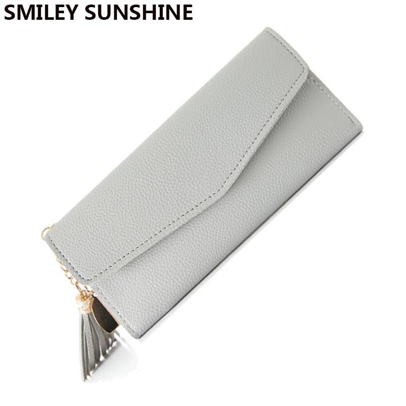 SMILEY SUNSHINE štíhlá dámská peněženka móda dlouhá ruční taška hasp ženské peněženky tenká velká mince kabelka dámy peněženka peněženka taška