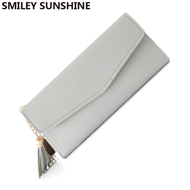 cc88be3d0f544 SMILEY SUNSHINE slim women wallet fashion long hand bag hasp female wallets  thin big coin purse card ladies wallet money bag