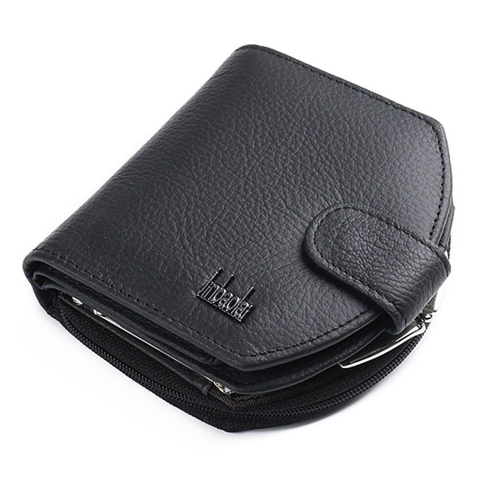 Credit Card Holder Leather Black Mens Or Womens Bi-fold Wallet