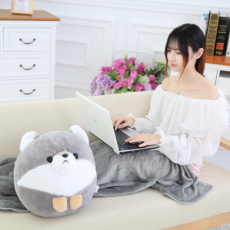 Lovely Shiba Inu Dog Plush Toy Stuffed Animal Pillow with Blanket Soft Cushion Home Office Car Nap Pillow Good Gift for Girls cartoon dog plush pillow shiba inu toys for children gift contain plush flannel blanket bedroom cushion