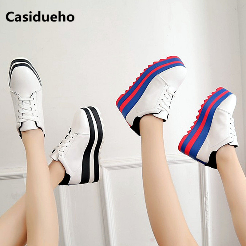 Casidueho Stripe Women Sneakers Platform Shoes Woman Wedges Lace Up Dress Zapatos Mujer High Quality Tenis Feminino Sandalias 41 цены онлайн