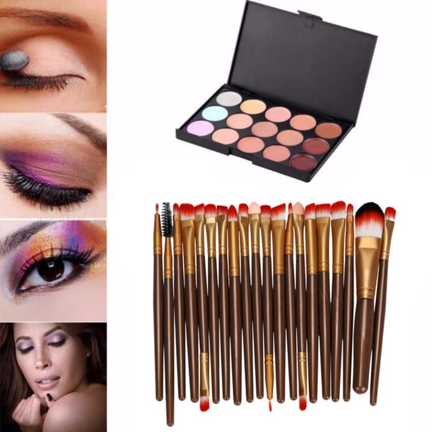 15 Colors Contour Face Cream Makeup Concealer Palette Professional Eye shadow 20 Brush