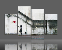 Free shipping Canvas art 4 pieces Large banksy there is always hope modern wall painting home decor print art framed F/378