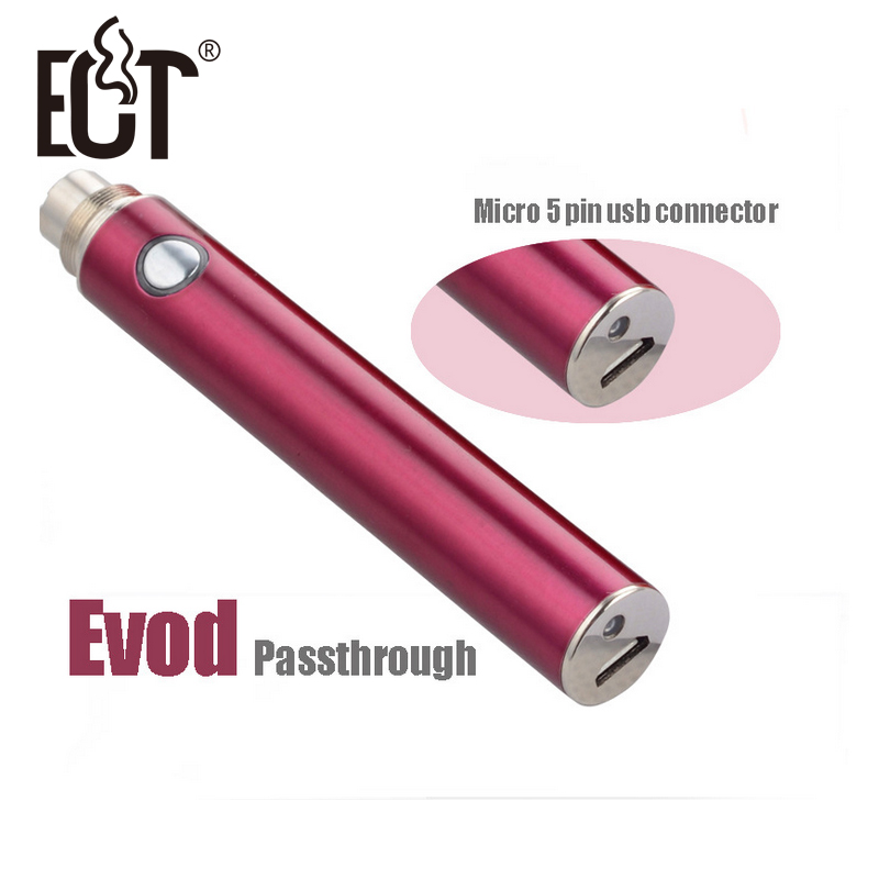 Factory price Electronic Cigarette 5pin micro USB Bottom & Top Charge Evod Passthrough Battery evod passthrough electronic cigarette 5pin micro usb bottom