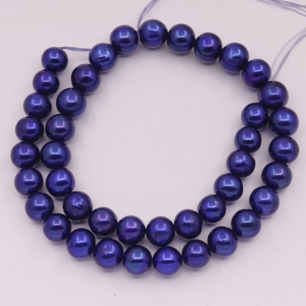 10 мм круглые настоящие Оксфордские синие жемчужные свободные бусины 15,5 для изготовления ювелирных изделий своими руками