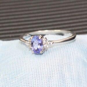 Image 3 - ファッションシルバー宝石結婚指輪女性のための 4*6 ミリメートル完璧な天然マリンタンザナイトシルバーリング固体 925 シルバータンザナイトリング