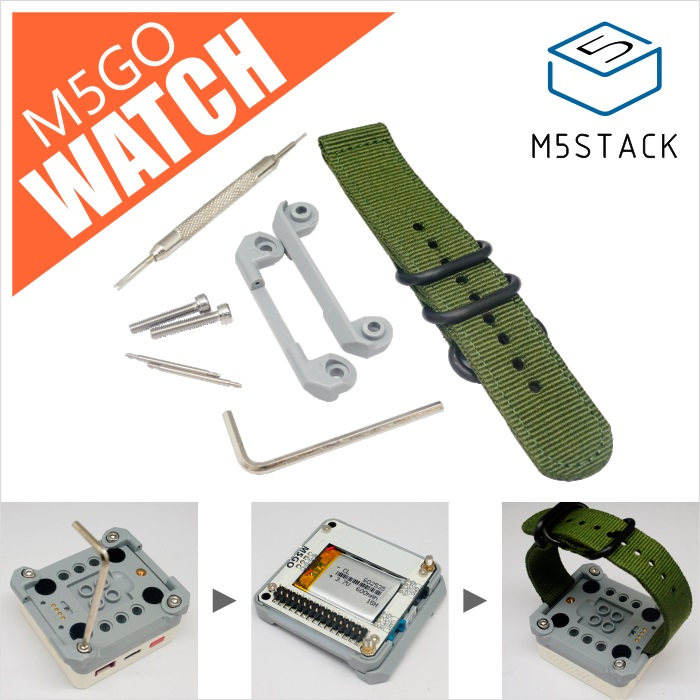M5Stack Official M5GO Watch Strap Nylon Soft Replacement Strap Compatible With M5GO ESP32 STEM Development Board Battery Bottom