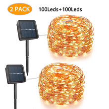 hot deal buy dcoo solar string lights copper 50led 100led wire lights fairy lights waterproof outdoor  lights for party wedding 2 pack