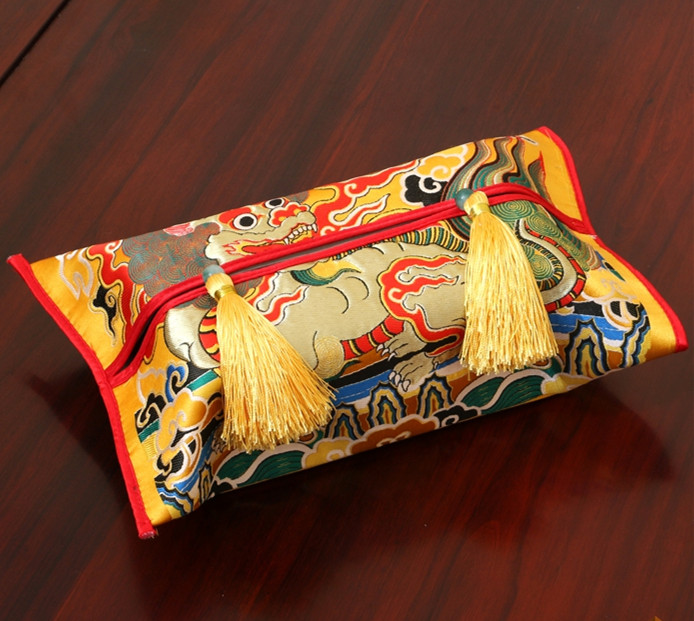 Ethnic Kirin Patterns Tissue Boxes Covers Rectangle Luxury Chinese style Tapestry Satin Tassel Crafts Facial Kleenex Cases