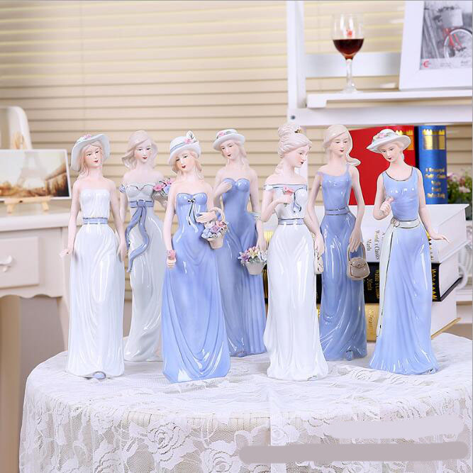 New modern home decoration ceramic crafts living room furnishings European hand painted Western woman ornaments 05215