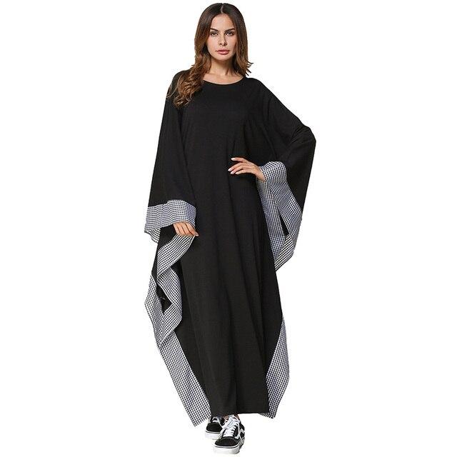 da2b2b2033dd Babalet Womens' Modest Muslim Islamic Clothing Loose O-Neck Full Length  Batwing Sleeve Plaid Hem Solid Arab Abaya Dress Pajama