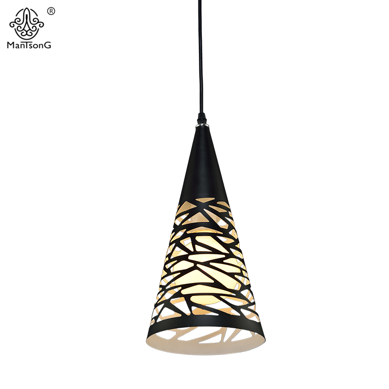 Modern Pendant Lights Lamparas Nordic Luminaire Lighting Kitchen Fixtures Lamp For Dining Living Room Bedroom Black Hollow Lamps modern simple european style dining room lighting american hollow carved iron bedroom pendant lights