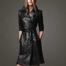 Free Shipping!!! Women's New 2015 spring high quality plus size slim leather trench outerwear medium-long PU leather Coat/S-XXXL