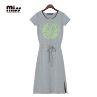 MISS 2016 2XL Fashion Summer Women Sport Dress T Shirt Print Letter Short Sleeve Slim Vestido