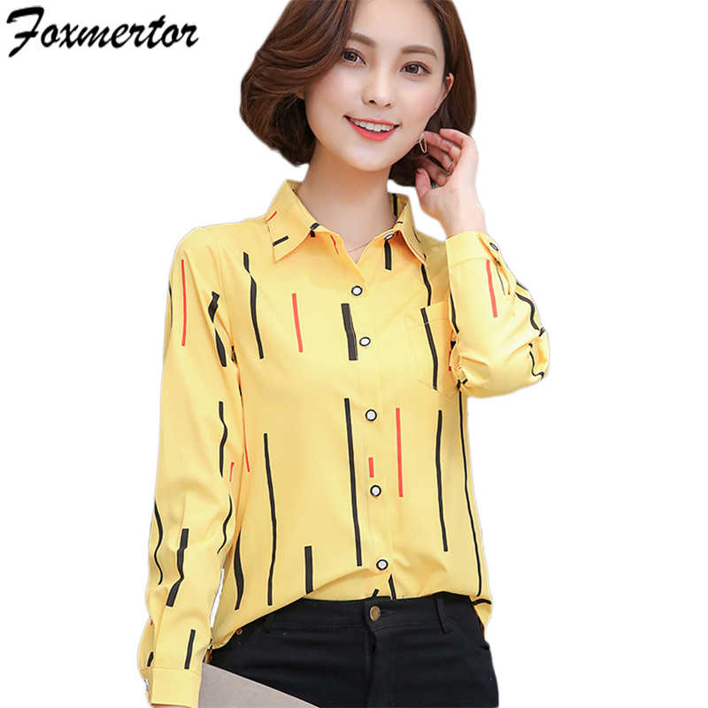 Fashion Women Blouses 2019 Spring New Shirts Female Clothing Long Sleeve  Blusas Chiffon Ladies Office Shirt 5cccc461a
