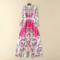High Quality 2018 Spring Summer European Style Maxi Dress Women Long Sleeve Abstract Floral Print Vintage