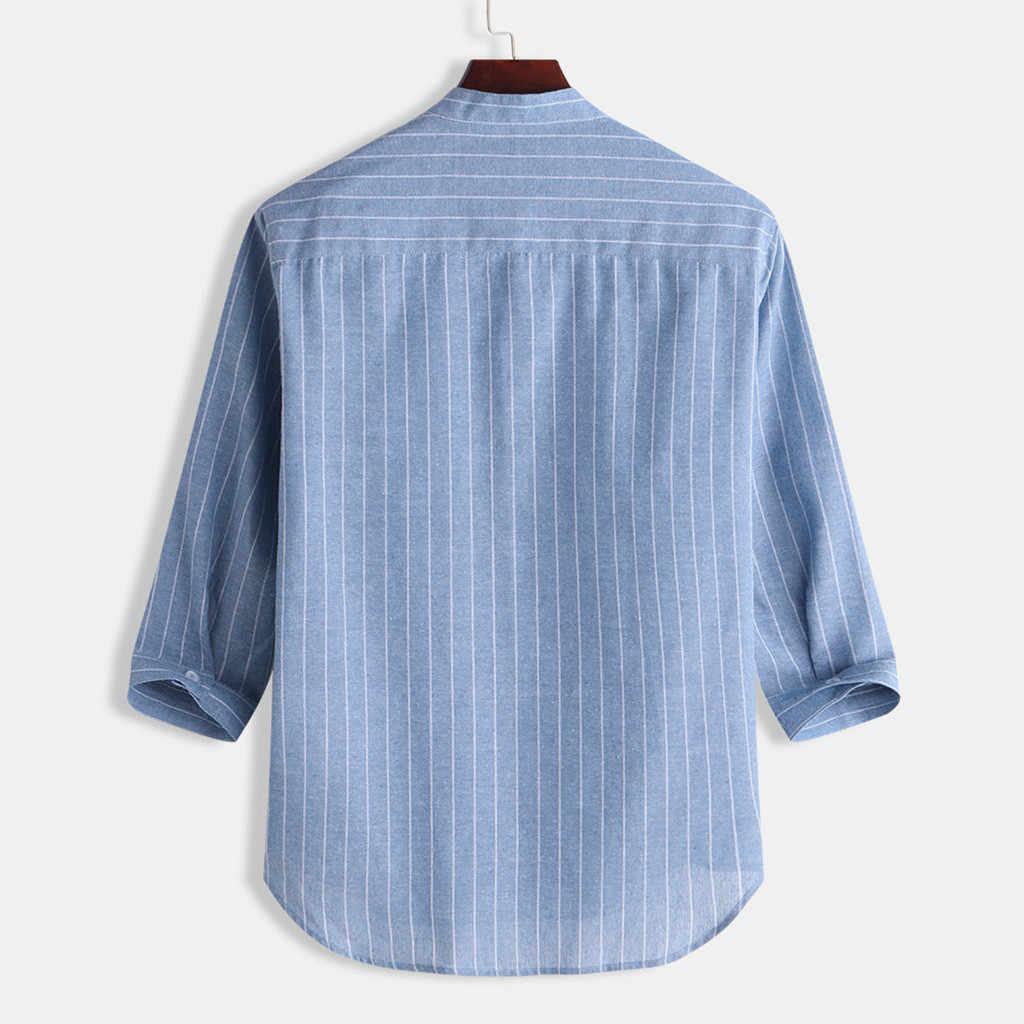 寝台 #401 2019 新ファッション夏メンズカジュアルストライプは襟 7 点袖ボタン綿のシャツトップホット送料無料