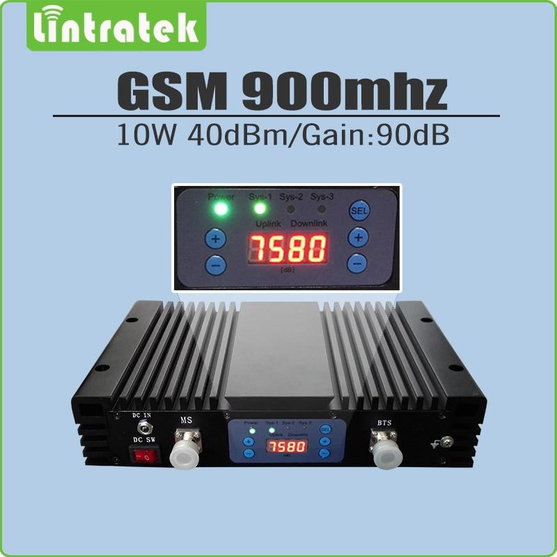 10 W Grande Puissance 40dBm Gain 90dB 2G GSM 900 mhz Répéteur de Signal GSM 900 Mobile Signal Booster Amplificateur avec lcd affichage et AGC/MGC