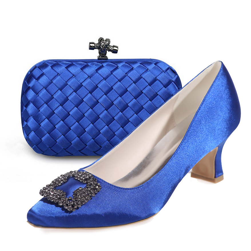 Elegant royal blue low hoof heel woman satin dress shoes pointed toe with matching knitted clutch bag party prom cocktail outfit