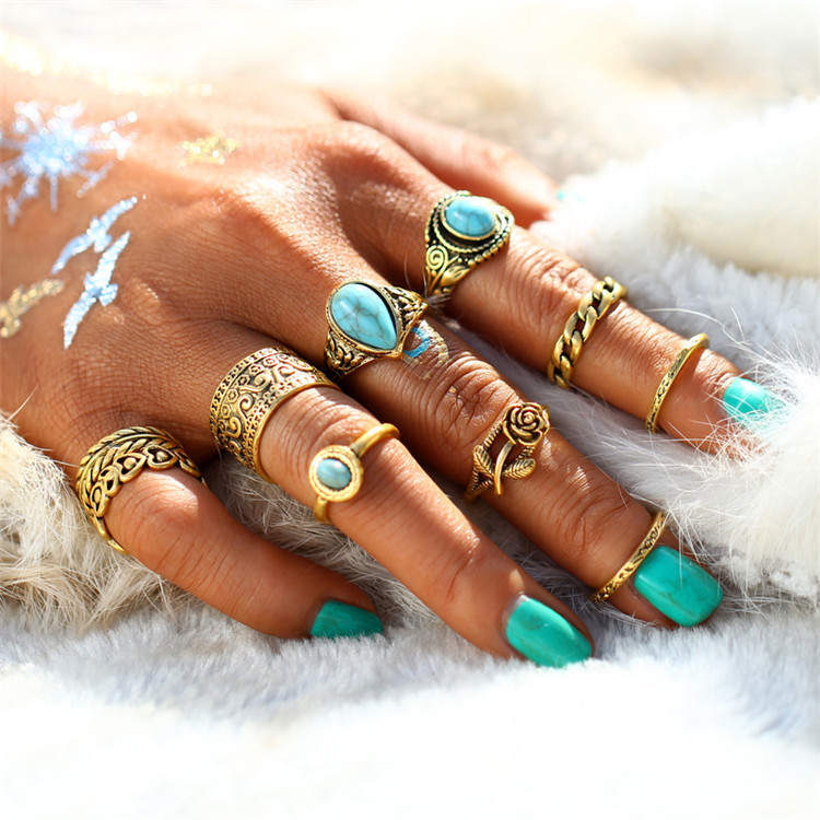 HTB1FuyERXXXXXa8XVXXq6xXFXXXJ 10-Pieces Vintage Tibetan Turquoise Knuckle Ring Set For Women - 2 Colors