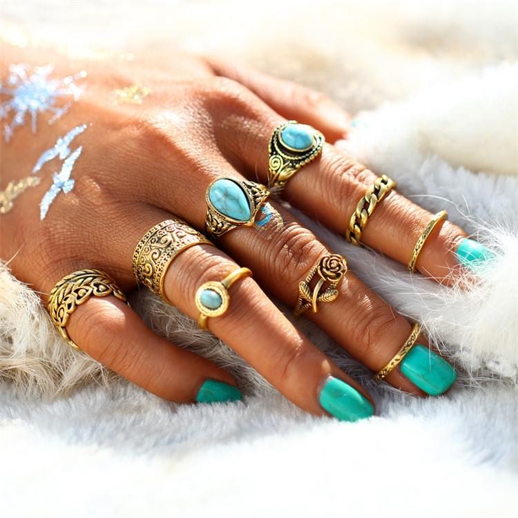HTB1FuyERXXXXXa8XVXXq6xXFXXXJ 10-Pieces Vintage Tibetan Turquoise Knuckle Ring Set For Women - 2 Colors