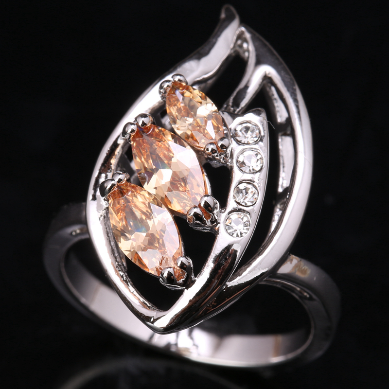 Shiny Leaf Orange Champagne Cubic zirconia Browm Gems Morganite 925 Sterling Silver Jewelry Solitaire Rings Size 6 7 8 9 S1535