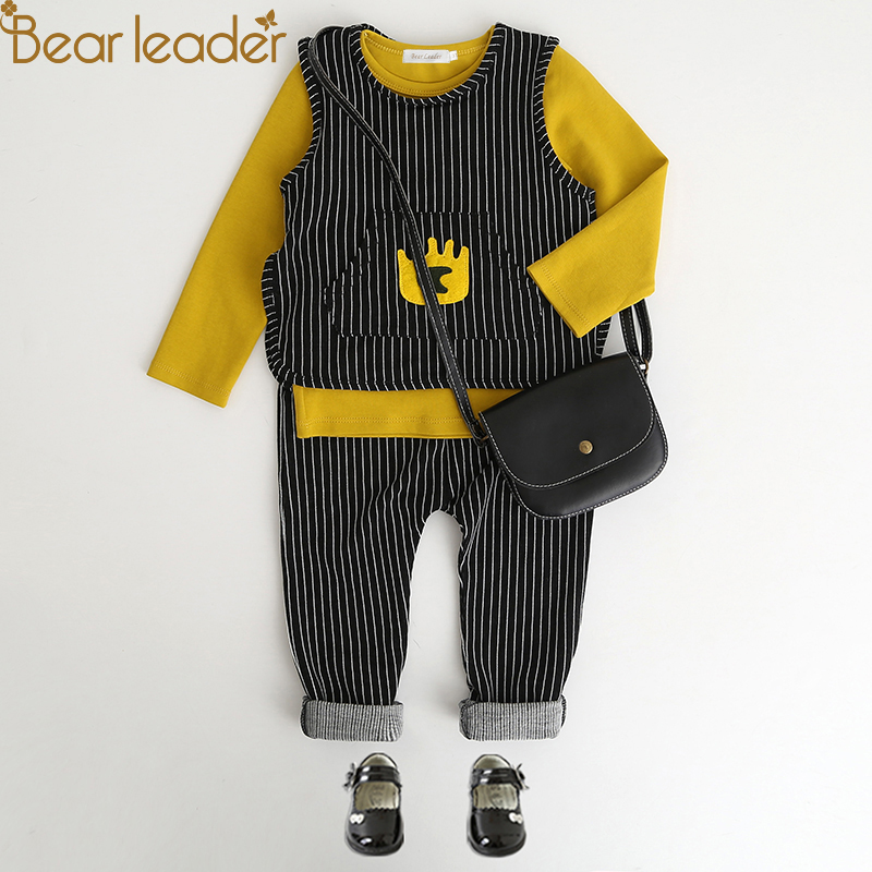 Bear Leader Girls Clothing Sets 2018 New Spring Sets Children Clothing Cute Vest+ Sweatshirts+Striped Pants 3Pcs Suit