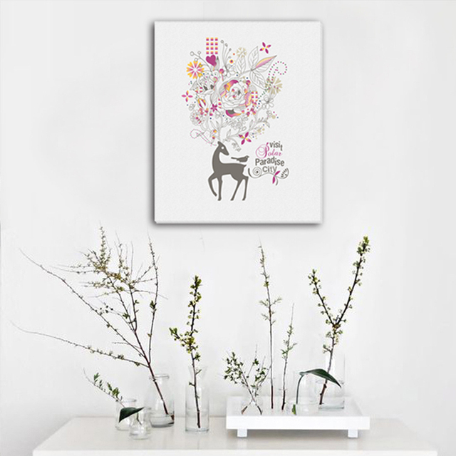 Frameless Flower and Deer DIY Picture Canvas Painting Oil Painting Print Naturally Home Decor Art Wall & Frameless Flower and Deer DIY Picture Canvas Painting Oil Painting ...