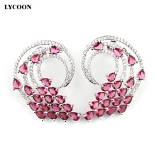 LYCOON Fashion wings design women luxury rose red crystal stud earrings prong seting AAA Cubic Zirconia Women wedding Jewelry