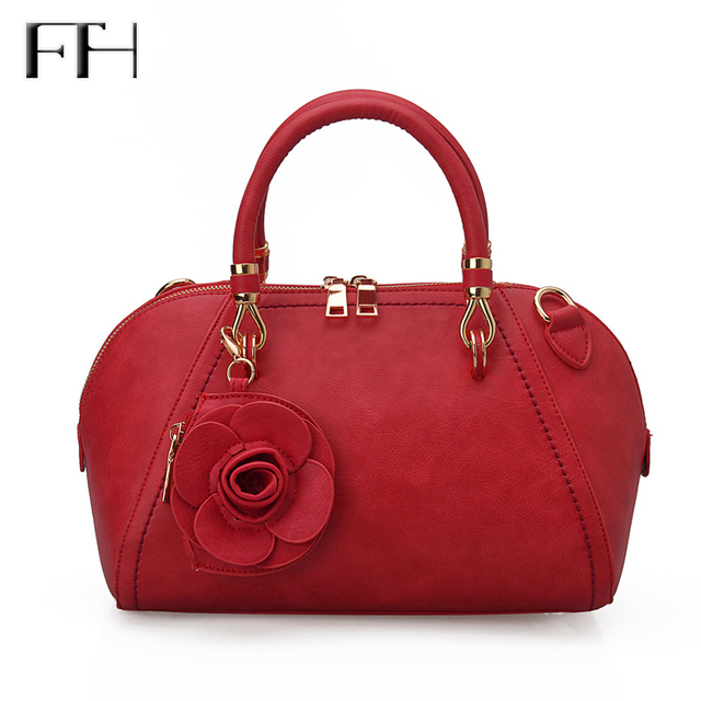 2017 classic Fashion Women Leather Frame Tote Bag With Rose Flower sexyLady luxury shoulder handbag Female elegant corssbody bag