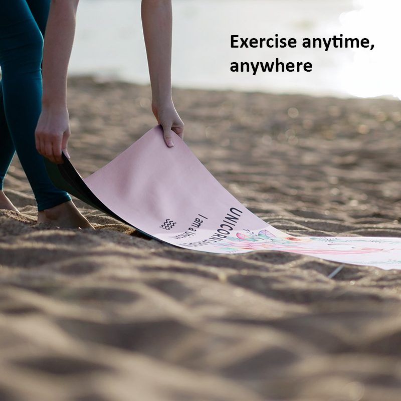 Portable  Yoga Mat Printing Ultra-thin Folding Non-slip Cloth Sweat-absorbent Towel Travel  Pilates  Pad 15