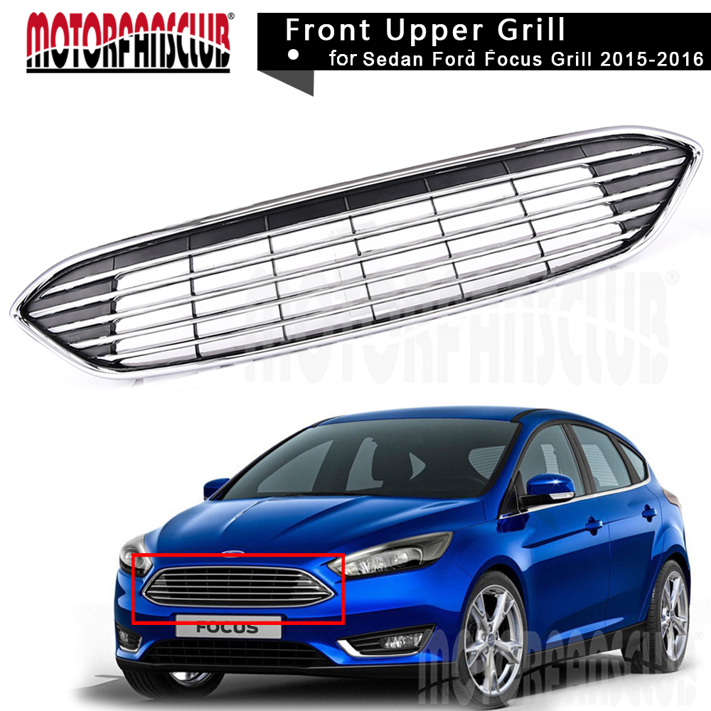 Aliexpress com buy car abs chrome front bumper black grill racing grills upper center grille for ford focus 2015 2016 car styling aceessories part from
