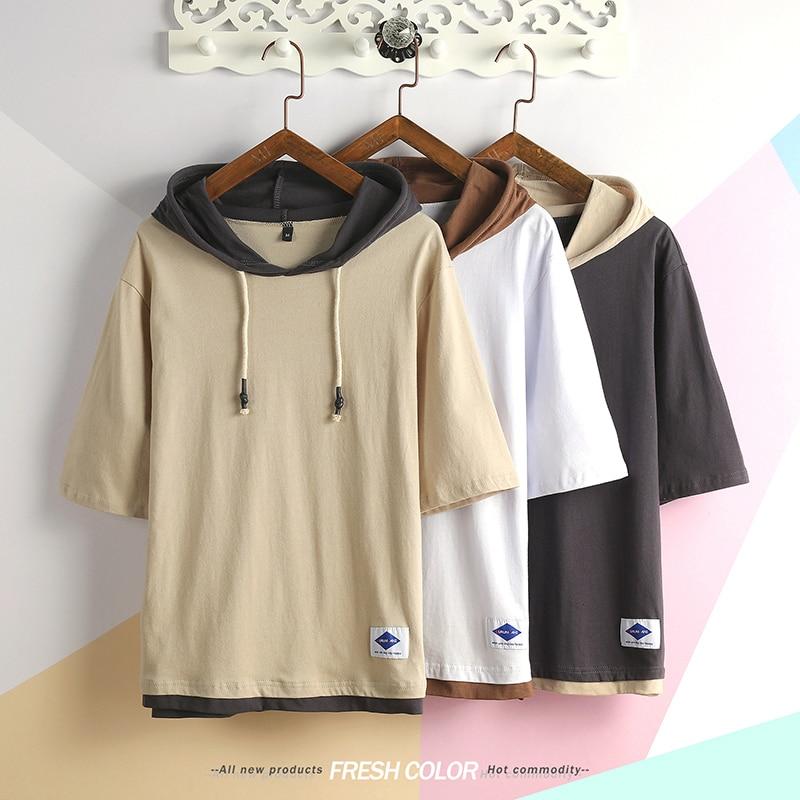 men loose hooded t-shirt trend street men's hoodie t shirt Good quality cotton men's hip-hop short sleeve tees