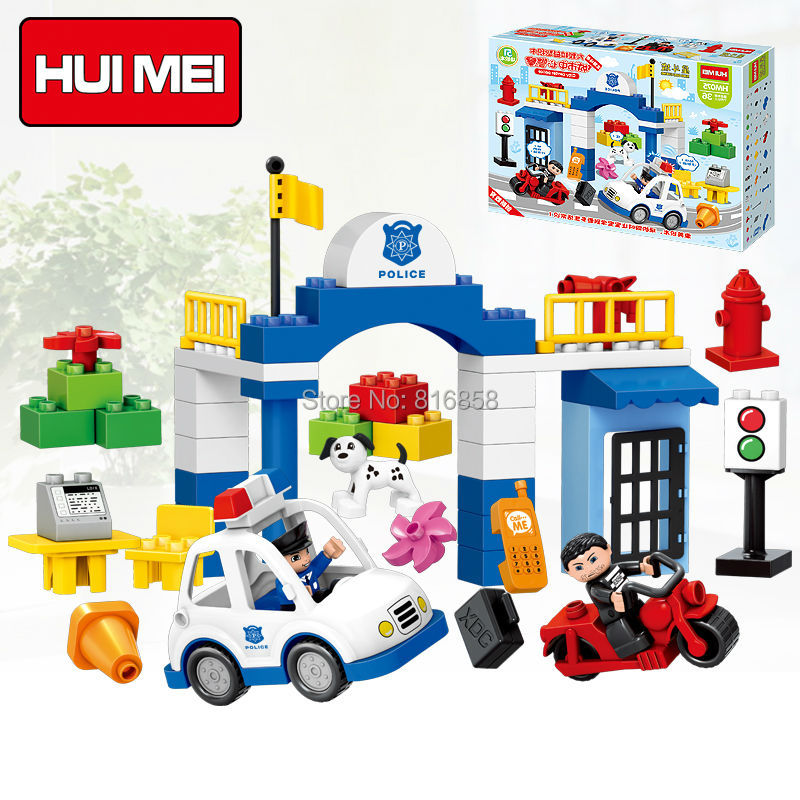 Original HUIMEI 51PC City Police Station Building Blocks Set Policeman Thief Car Dog Educational Baby Toys Compatible with Duplo city series police car motorcycle building blocks policeman models toys for children boy gifts compatible with legoeinglys 26014