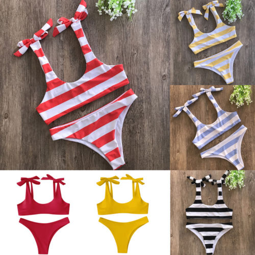 Black Friday Deals New 2018 Summer Women Striped Bandage Padded Bikini Set Push Up Brazilian e Bikini Beach Swimwear