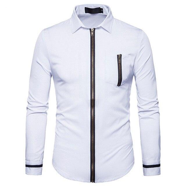 White Shirt Men 2017 Autumn Long Sleeve Men Shirt Slim Fit Hip Hop ...