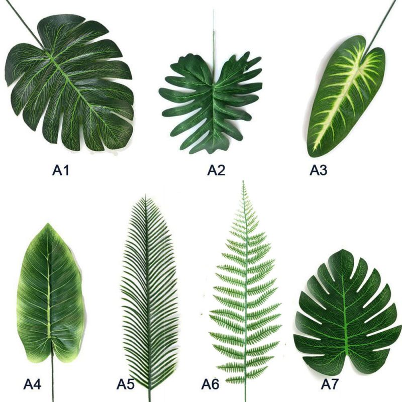 5pcs Artificial Leaf Tropical Palm Leaves Simulation Leaf For Luau Theme Party Decorations DIY Home Garden Decoration Photo Prop