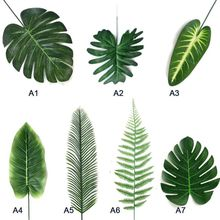 5pcs/Lot Artificial Tropical Monstera Palm Leaves Simulation Leaf for Hawaiian Theme Party Home Garden Decoration Fake