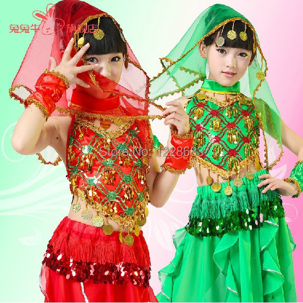 Sequin Oriental Tribal Bollywood Dance Costume Kids Indian Dresses Belly Dance Dress Child Girls Belly Dance