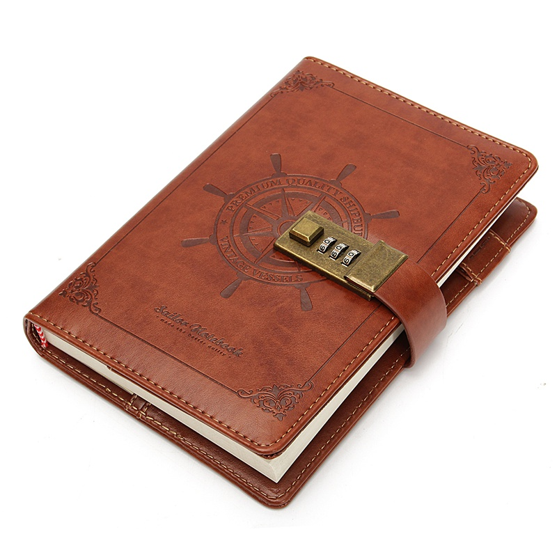 1pcs Vintage Rudder Brown Leather Journal Blank Diary Note Book with Password Code Lock Office School Stationery Supplies Gifts vintage handmade leather diary notebook sketchbook travel journal blank writing paper note books gifts school office stationery
