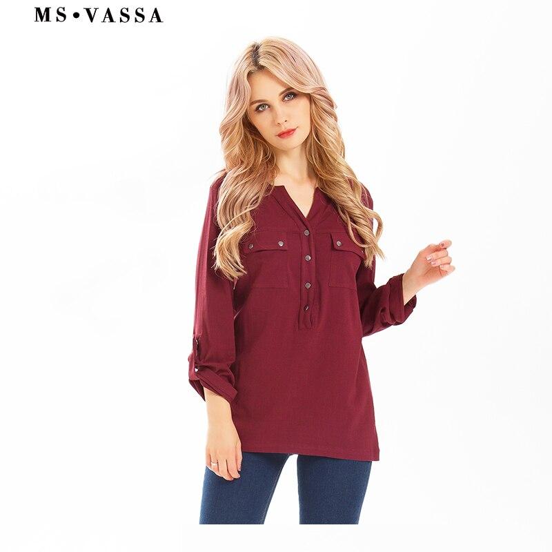 MS VASSA Ladies Tees 2017 Summer Spring casual Women tops T shirt long sleeve V neck streetwear plus size XS 6XL
