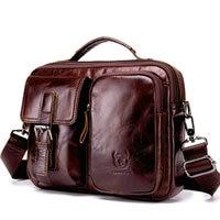 100% Genuine Leather Male Designer Casual Shoulder Messenger Crossbody bag Fashion Tablets Pad School Book bag men bags