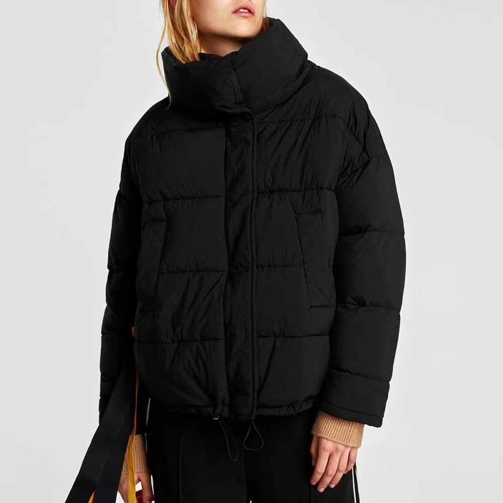 New 2018 Solid Color Winter Coats Women Bat Sleeved Short Parka Thick Warm Cotton Padded Coat Winter Outwear Ladies Jacket Black